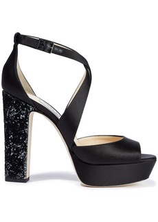 Jimmy Choo Woman April 120 Satin Platform Sandals Black
