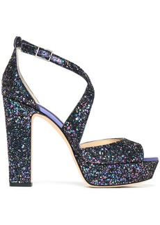 Jimmy Choo Woman April Glittered Leather Platform Sandals Multicolor