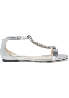 Jimmy Choo Woman Averie Crystal-embellished Mirrored-leather Sandals Silver