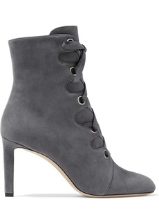 Jimmy Choo Woman Blayre 85 Lace-up Suede Ankle Boots Gray