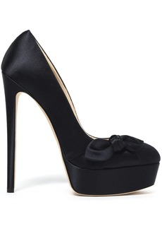 Jimmy Choo Woman Bow-embellished Satin Platform Pumps Navy