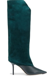 Jimmy Choo Woman Brelan 85 Suede And Leather Knee Boots Dark Green