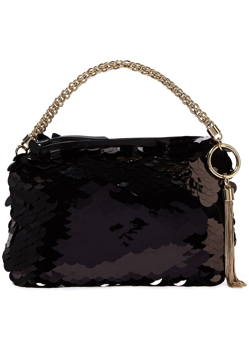 Jimmy Choo Woman Callie Sequined Tulle Clutch Black