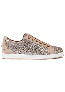 Jimmy Choo Woman Cash Studded Suede-trimmed Glittered Leather Sneakers Antique Rose