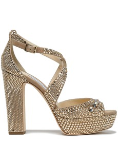 Jimmy Choo Woman Crystal-embellished Suede Platform Sandals Neutral
