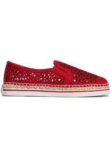 Jimmy Choo Woman Dawn Laser-cut Nubuck Espadrilles Crimson