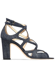 Jimmy Choo Woman Dillan 85 Cutout Denim Sandals Mid Denim