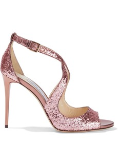 Jimmy Choo Woman Emily 100 Glittered Leather Sandals Rose Gold