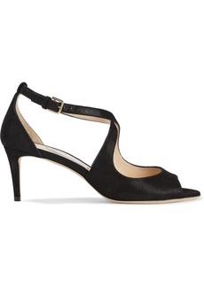Jimmy Choo Woman Emily 65 Metallic Suede Sandals Black