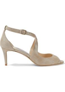 Jimmy Choo Woman Emily 65 Metallic Suede Sandals Sand