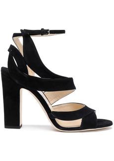 Jimmy Choo Woman Falcon 100 Cutout Suede Sandals Black
