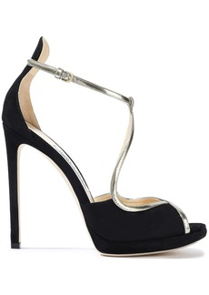 Jimmy Choo Woman Fawne 120 Metallic Leather-trimmed Suede Sandals Black