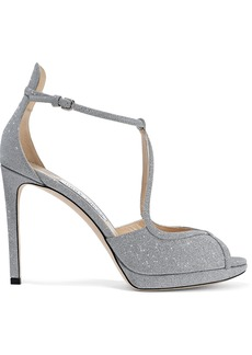Jimmy Choo Woman Fawne Glittered Leather Platform Sandals Silver