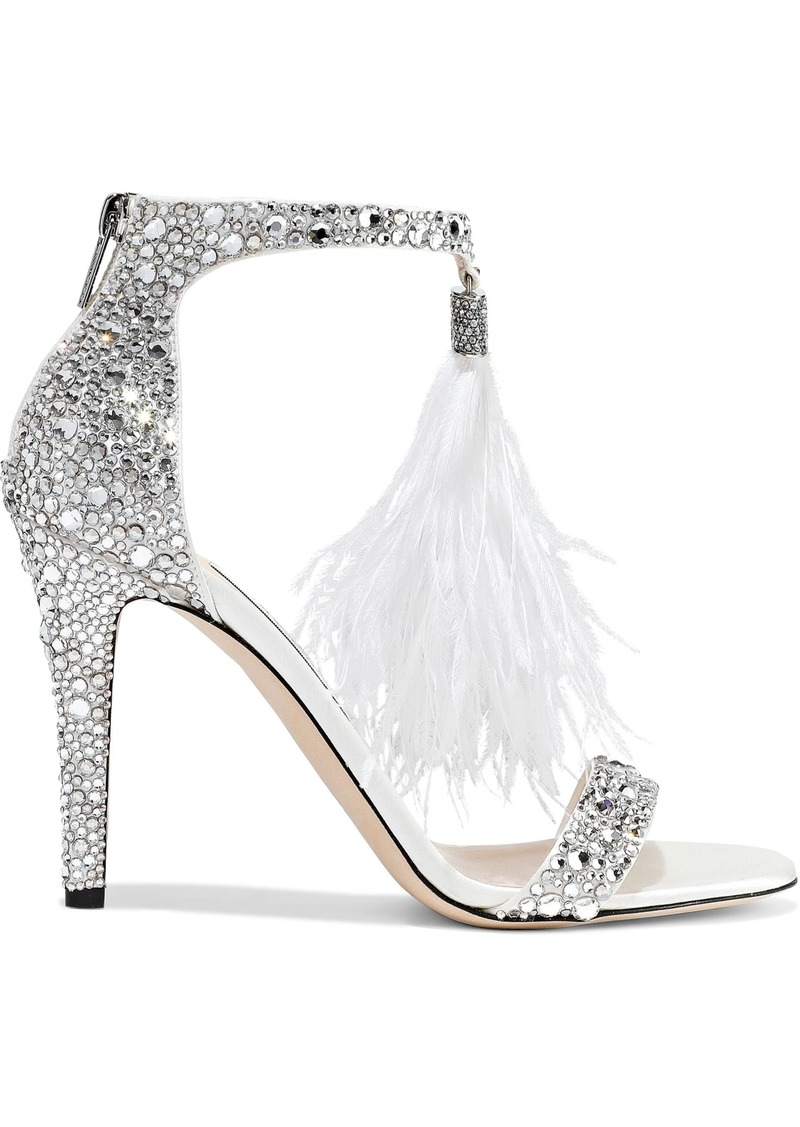 Jimmy Choo Woman Feather And Crystal-embellished Leather Sandals White