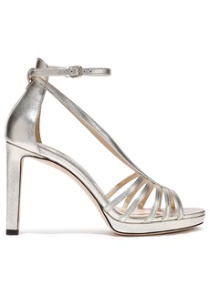 Jimmy Choo Woman Federica 100 Metallic Leather Platform Sandals Platinum