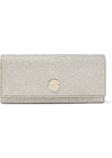 Jimmy Choo Woman Florence Glittered Leather Clutch Platinum