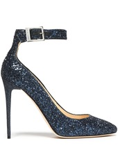 Jimmy Choo Woman Glittered Leather Pumps Navy