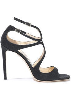Jimmy Choo Woman Glittered Leather Sandals Black