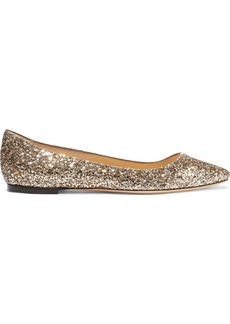 Jimmy Choo Woman Goa Glittered Canvas Point-toe Flats Gold