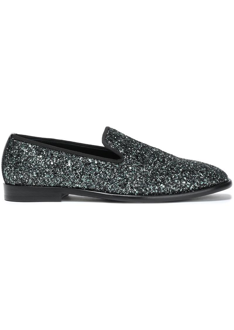 Jimmy Choo Woman Grosgrain-trimmed Glittered Leather Slippers Jade