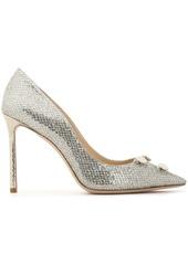Jimmy Choo Woman Jasmine 100 Embellished Glittered Satin Pumps Silver