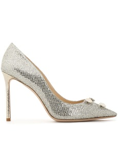 Jimmy Choo Woman Jasmine 100 Embellished Glittered Satin Pumps Silver