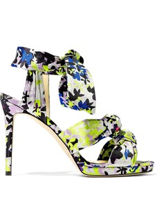 Jimmy Choo Woman Kris Knotted Printed Satin Sandals Multicolor