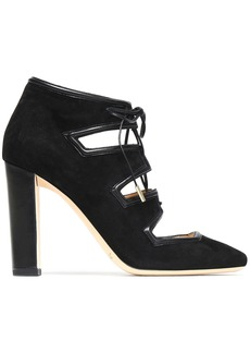 Jimmy Choo Woman Lace-up Leather-trimmed Suede Pumps Black