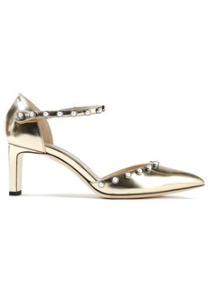 Jimmy Choo Woman Leema 65 Faux Pearl-embellished Metallic Leather Pumps Gold