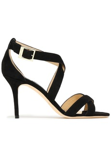 Jimmy Choo Woman Louise 85 Suede Sandals Black