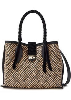 Jimmy Choo Woman Marianne Leather And Velvet-trimmed Woven Raffia Tote Black