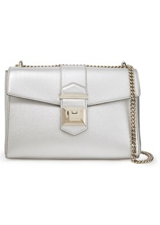Jimmy Choo Woman Marianne Metallic Textured-leather Shoulder Bag Silver