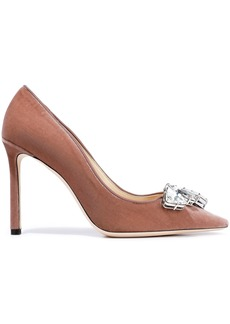 Jimmy Choo Woman Marvel 100 Crystal-embellished Velvet Pumps Antique Rose