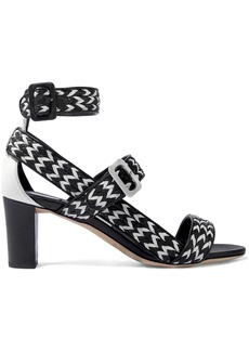 Jimmy Choo Woman Maya 65 Two-tone Woven Leather Sandals Black
