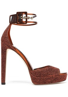 Jimmy Choo Woman Mayner Pvc-trimmed Glittered Leather Platform Sandals Copper