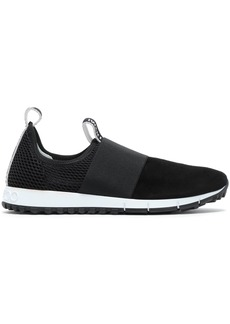 Jimmy Choo Woman Mesh And Suede-paneled Slip-on Sneakers Black