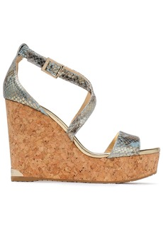 Jimmy Choo Woman Metallic Snake-effect Leather Wedge Sandals Platinum