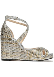 Jimmy Choo Woman Metallic Woven Wedge Sandals Silver