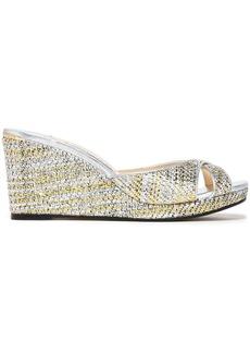 Jimmy Choo Woman Metallic Woven Wedge Sandals Silver