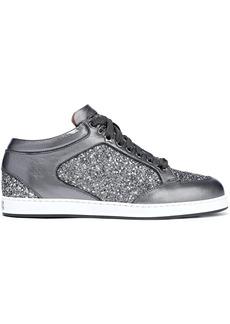 Jimmy Choo Woman Miami Glittered Metallic Leather Sneakers Gunmetal