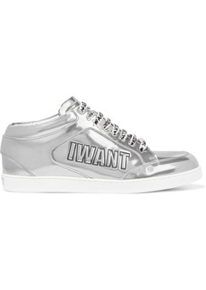 Jimmy Choo Woman Miami Logo-embossed Mirrored-leather Sneakers Silver
