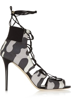 Jimmy Choo Woman Myrtle Lace-up Printed Nubuck Sandals Gray