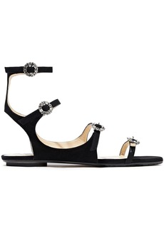 Jimmy Choo Woman Naia Crystal-embellished Suede Sandals Black
