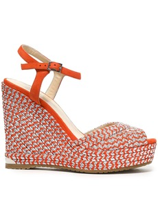 Jimmy Choo Woman Perla 120 Suede And Metallic Woven Wedge Sandals Bright Orange