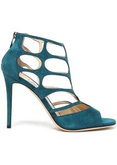 Jimmy Choo Woman Ren 100 Cutout Suede Sandals Teal