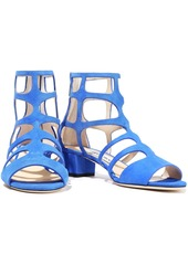 Jimmy Choo Woman Ren 35 Cutout Suede Sandals Bright Blue