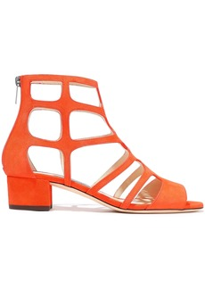 Jimmy Choo Woman Ren 35 Cutout Suede Sandals Bright Orange