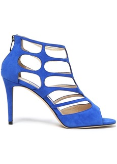 Jimmy Choo Woman Ren 90 Cutout Suede Sandals Cobalt Blue