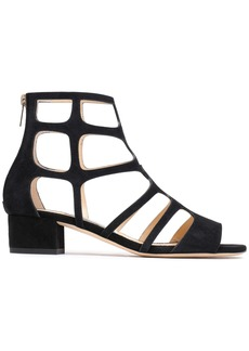 Jimmy Choo Woman Ren Cutout Suede Sandals Black