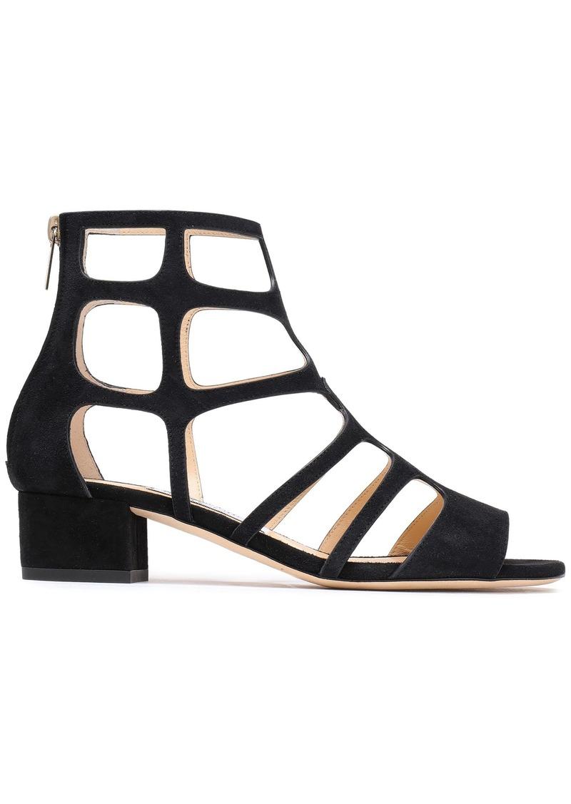 Jimmy Choo Woman Ren Cutout Suede Sandals Black